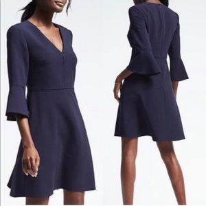 Banana Republic Navy Blue Flutter Sleeve Dress